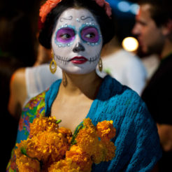Young woman dressed for Dia de los Muertos
