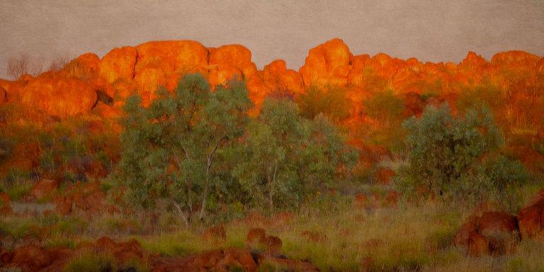 Sunset on Devil's Marbles