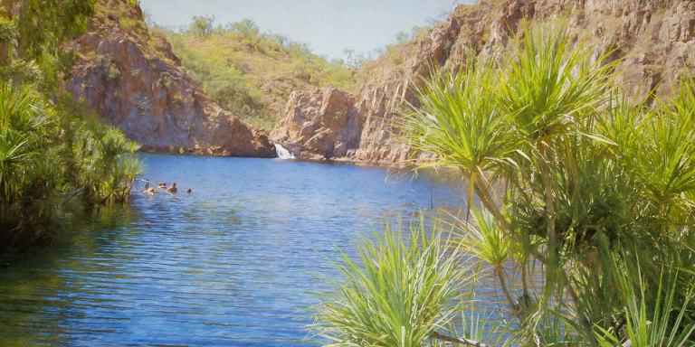 Swimmers at Leliyn Falls