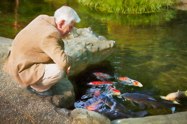 Man with Koi fish