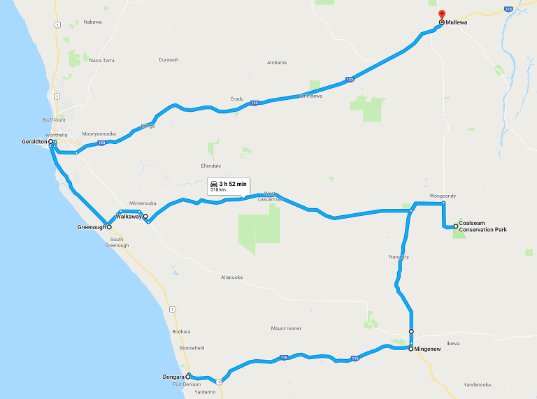 Route map: Dongara - Port Denison to Mullewa