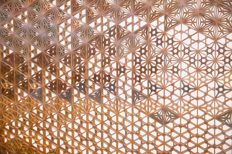 Intricately constructed wooden screen