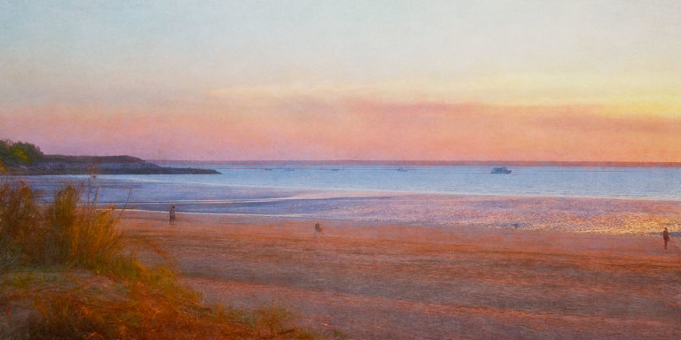 Sunset reflected on wet sand