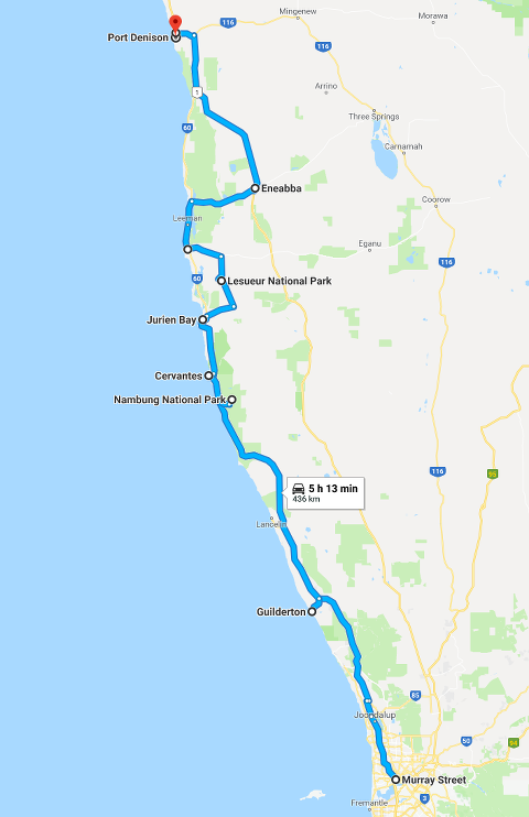 Route map: Perth to Dongara - Port Denison