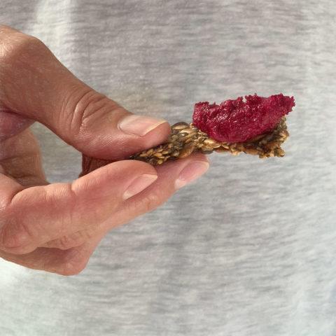 Roast beetroot dip on five seed cracker